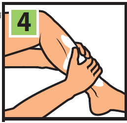 Step 4 of instructions image, Rub both hands (up to 3 minutes, if needed) on the affected area, working Zanfel into the skin until there is no sign of itching (15 seconds is typical for mild to moderate reactions).