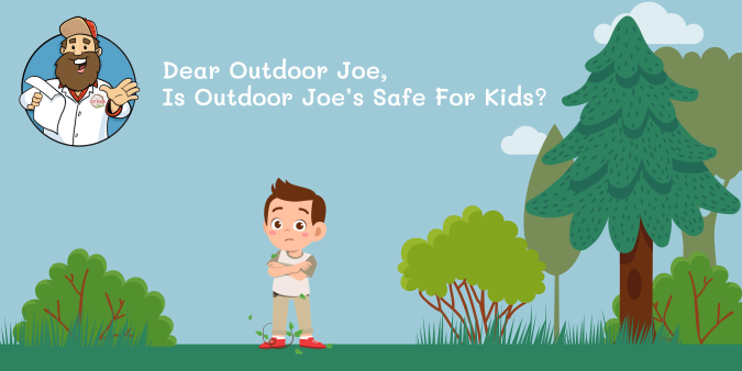 Illustration of A young boy standing near a forest full of poison ivy with Outdoor Joe reading a letter.