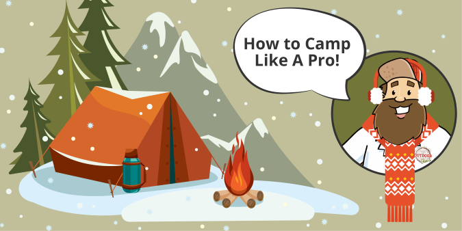 Cartoon image of Outdoor Joe® winter camping